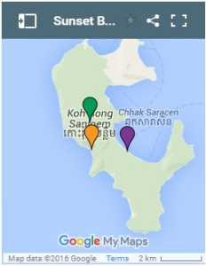 Sunset Beach on Koh Rong Samloem Island in Cambodia Map