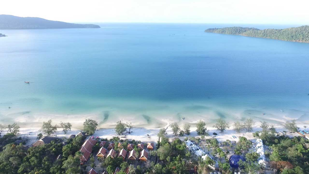 Aerial View of Saracen Bay on Koh Rong Samloem